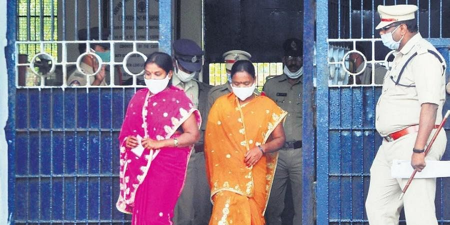 Prisoners who were granted remission of life sentence coming out of central prison  in Visakhapatnam on Friday I Express