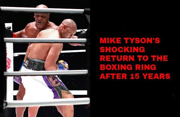 Former world heavyweight champion Mike Tyson stepped through the ropes in his signature black trunks and heard the opening bell in a boxing ring for the first time in 15 years.