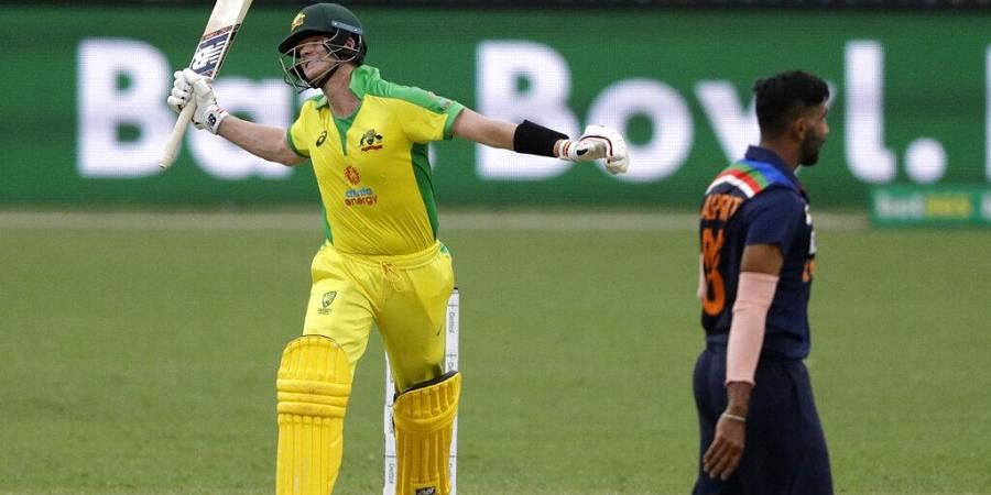 Australia's Steve Smith reacts while batting during the one day international cricket match.(Photo | AP)