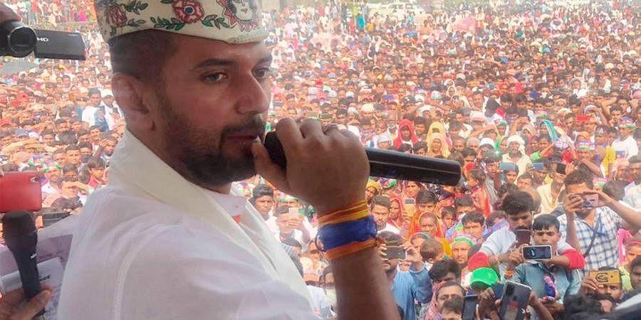 LJP chief Chirag Paswan at a poll rally in Bihar. (Photo| PTI)