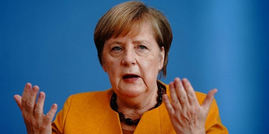 German Chancellor Angela Merkel (CDU) gives a press conference to capital city journalists at the Federal Press Conference in Berlin.