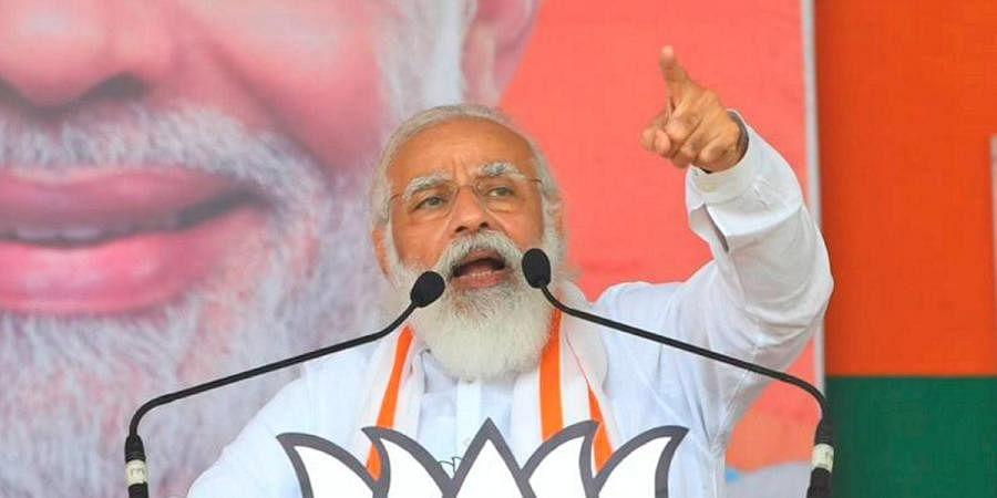 Prime Minister Narendra Modi speaks during the last leg of campaign for Bihar Assembly polls in Saharsa district.