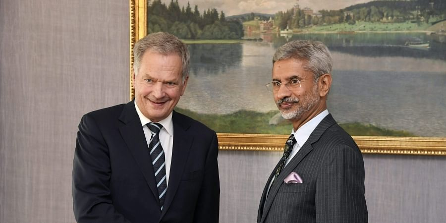 Finland's President Sauli Niinisto, left. welcomes India's Minister of External Affairs Subrahmanyam Jaishankar at the Presidential Castle in Helsinki, Finland.