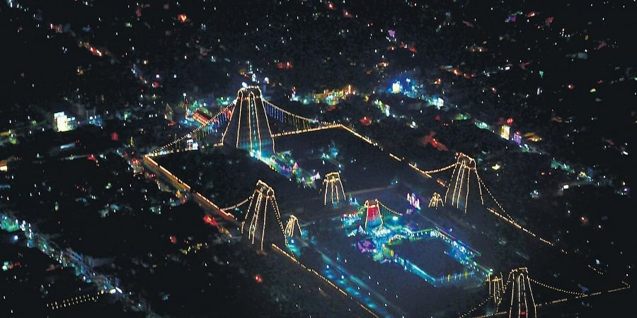 Annamalaiyar Temple dazzling with electric lights on the day of the festival of lights in Tiruvannamalai.
