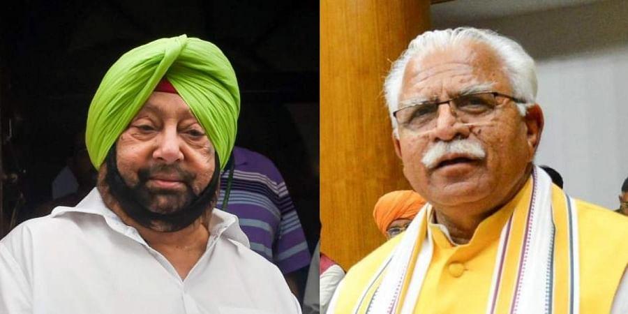 Punjab CM Amarinder Singh (L) and his Haryana counterpart Manohar Lal Khattar