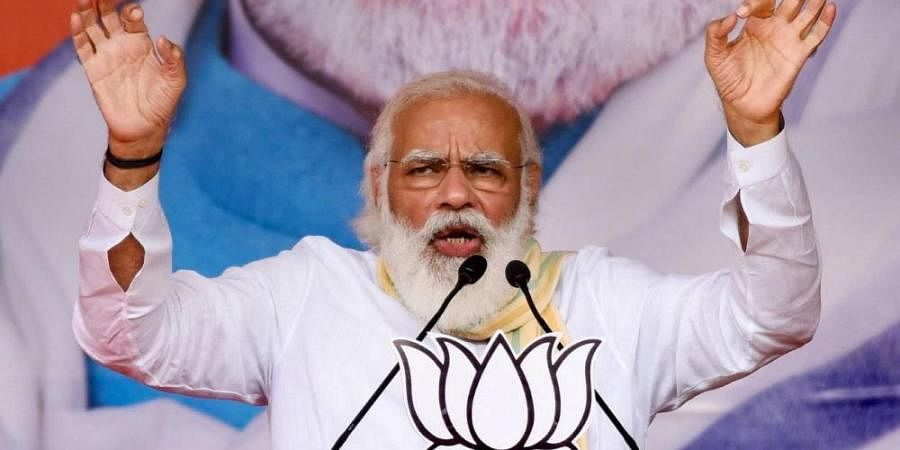 Prime Minister Narendra Modi addresses an election rally for the second phase of Bihar Assembly polls in Samastipur district
