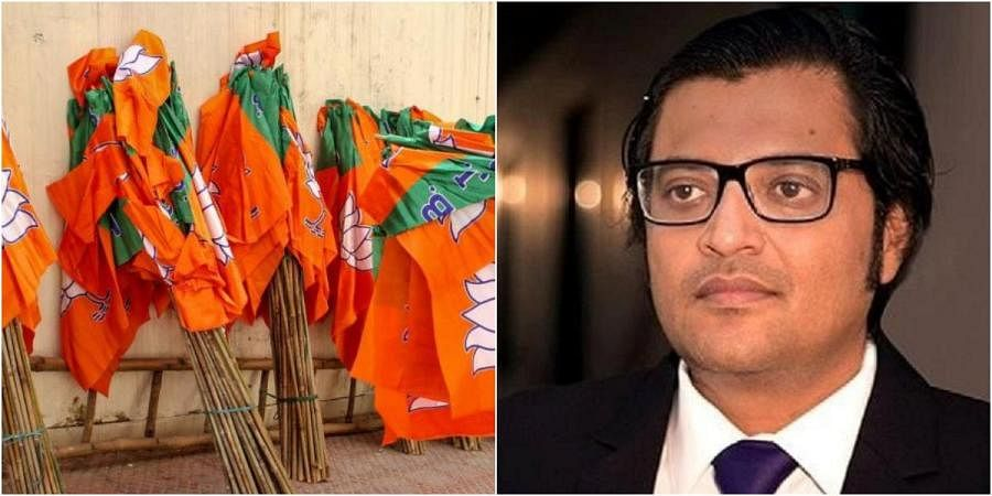 BJP flags (L) and Republic TV editor-in-chief Arnab Goswami