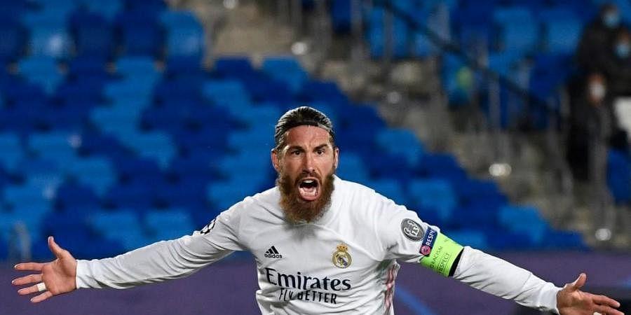 Real Madrid's Spanish defender Sergio Ramos celebrates his goal. (Photo | AFP)