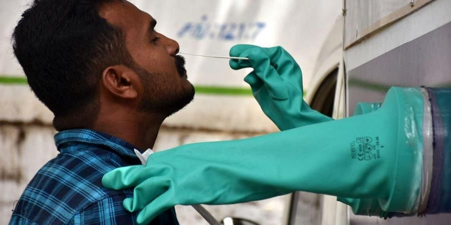 Health worker collects nasal swabs for Covid-19 from inside a sample collection unit in Chennai.