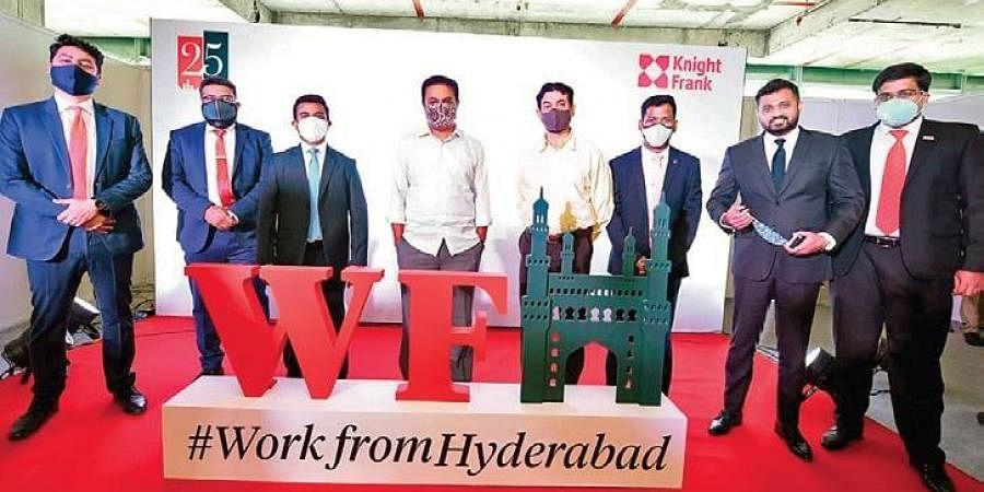 IT and Industries Minister KT Rama Rao unveils Knight Frank India's report, 'Work from Hyderabad', in the city on Wednesday