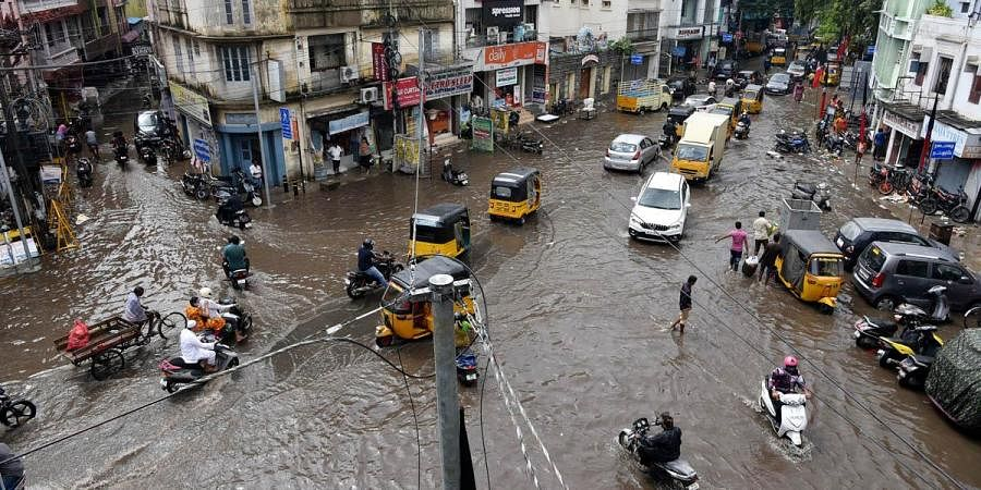 Water logging at Pycrofts Road, Triplicane, after the sudden rain in the city.