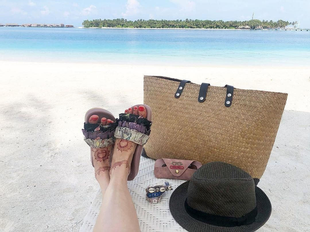 In one of the images, Kajal showed her beach essentials.