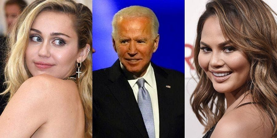 Miley Cyrus (L), US President elect Joe Biden (C) and Chrissy Teigen (R)