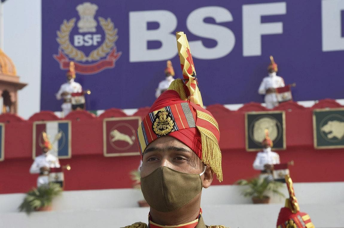 Border Security Force contingent participates in the 56th raising day event of BSF, at Chhawla Camp in New Delhi. (Photo | PTI)