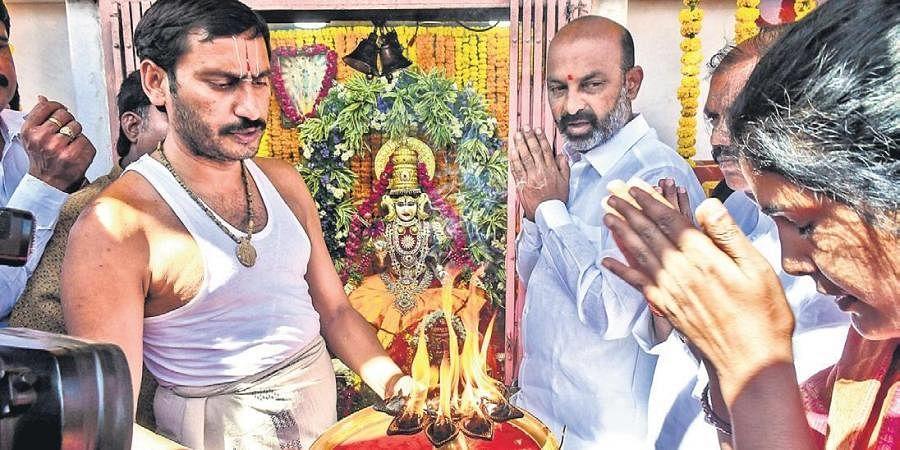 BJP State president Bandi Sanjay Kumar at the Bhagyalakshmi temple near Charminar on Friday