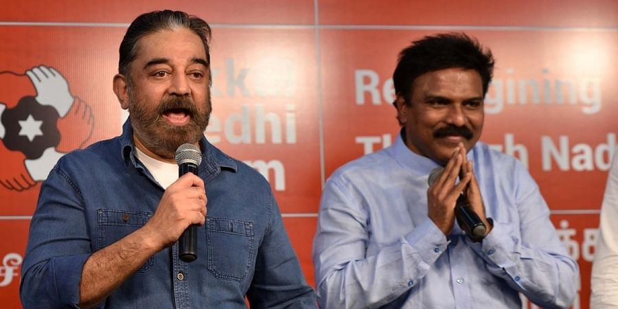 MNM Chief Kamal Haasan and Former IAS officer Santhosh Babu during the press meet in Chennai. (Photo | R Satish Babu, EPS)