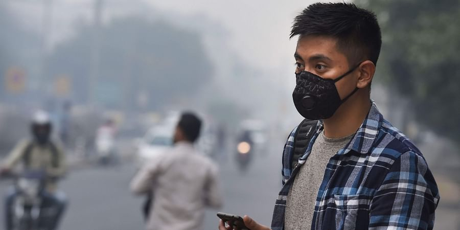 New Delhi A tourist wears an anti-pollution mask amid heavy smog as the air quality further dips to 'severe' category