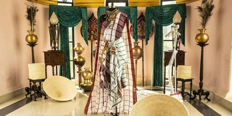A Santhali sari at the 200-year-old Belgadia Palace-turned-homestay of Mayurbhanj