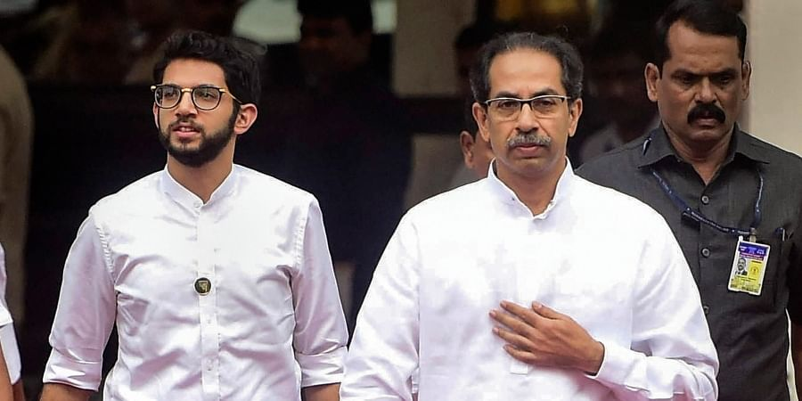 Maharashtra CM Uddhav Thackeray along with his son and minister Aaditya Thackeray arrives at the State Assembly in Mumbai Wednesday Jan. 8 2020. (Photo | PTI)
