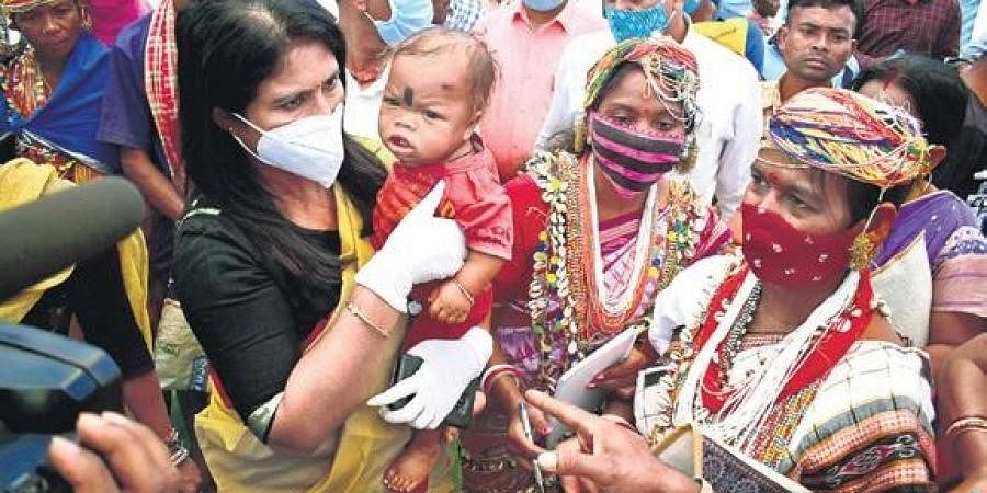 Sulochana Das with Bonda tribals during the sensitisation programme