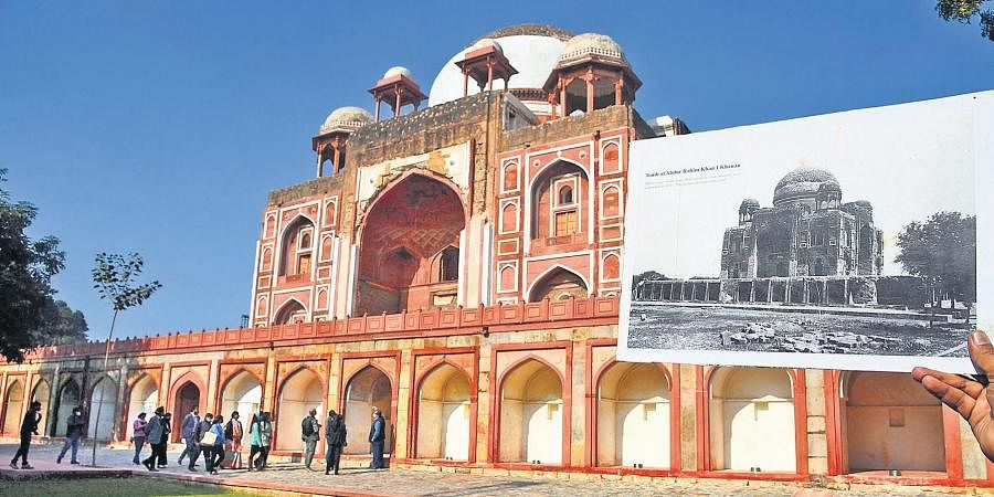 A picture of the Rahim tomb in a shambles before restoration juxtaposed with the restored structure in the backdrop.