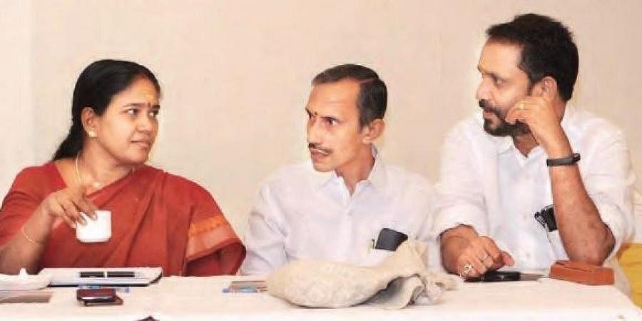 Sobha Surendran, M T Ramesh and K Surendran (File Photo)