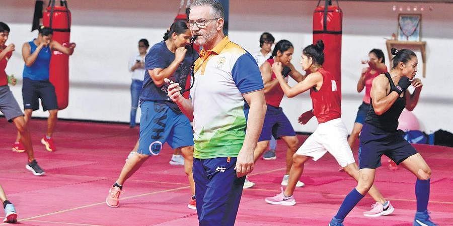 Raffaele Bergamasco during a training session in New Delhi on Friday | arun Kumar