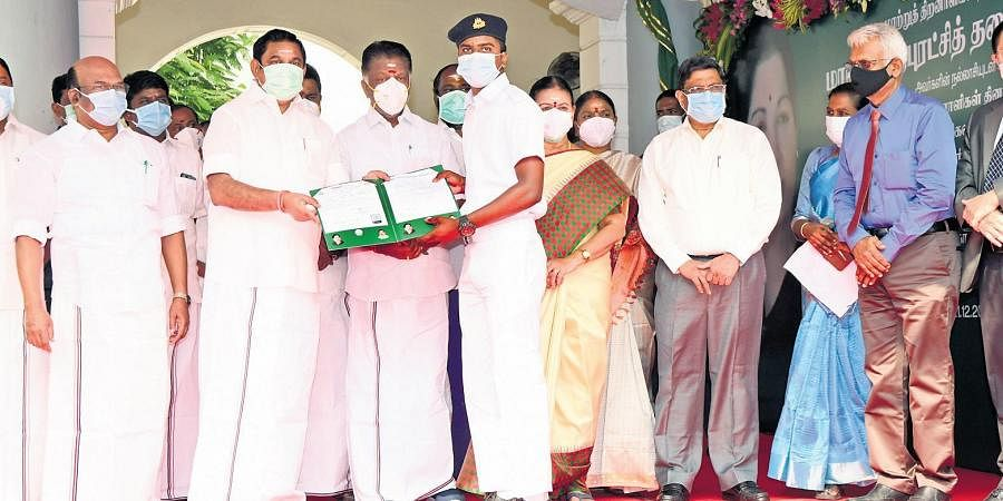 Chief Minister Edappadi K Palaniswami on Monday gave away admission orders to seven students to pursue a residential course