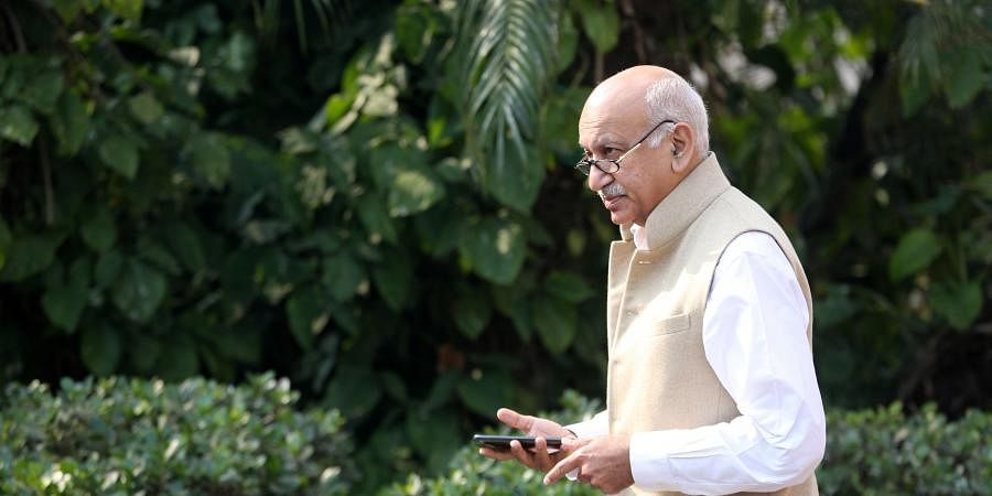 BJP MP MJ Akbar at Parliament in New Delhi