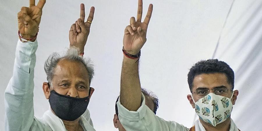 Rajasthan Chief Minister Ashok Gehlot along with senior Congress leader Sachin Pilot. (Photo| PTI)