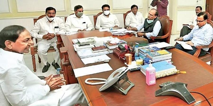 CM K Chandrasekhar Rao meets Ministers, officials at Pragathi Bhavan on Sunday.