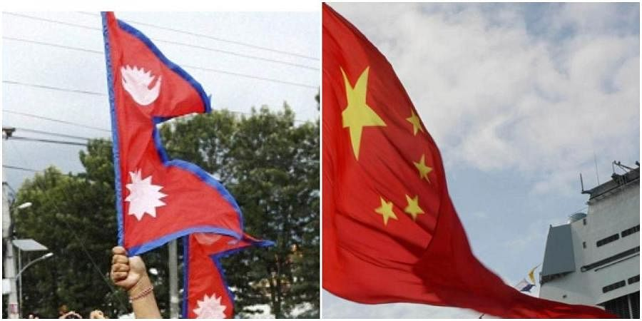 Chinese and Nepalese (L) flags