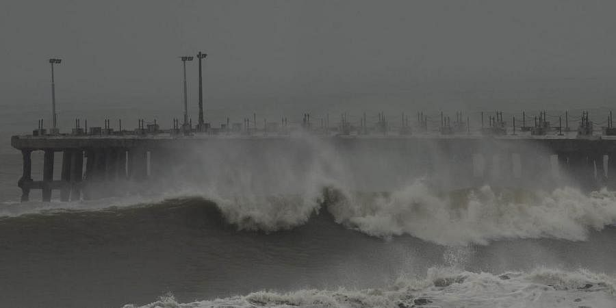 Giant waves hit Puducherry coast before the landfall of cyclone.