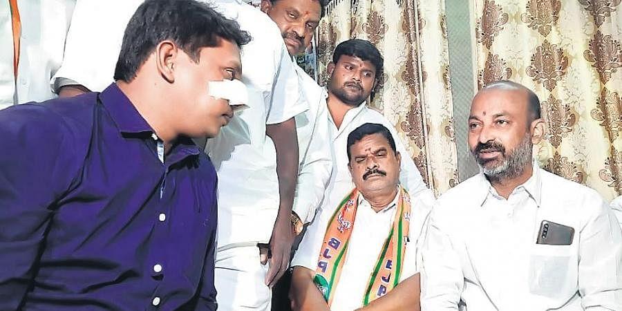 BJP Telangana president Bandi Sanjay Kumar called on Praveen, who was injured  in disturbances during the GHMC polls at Chaitanyapuri, Hyderabad on Tuesday