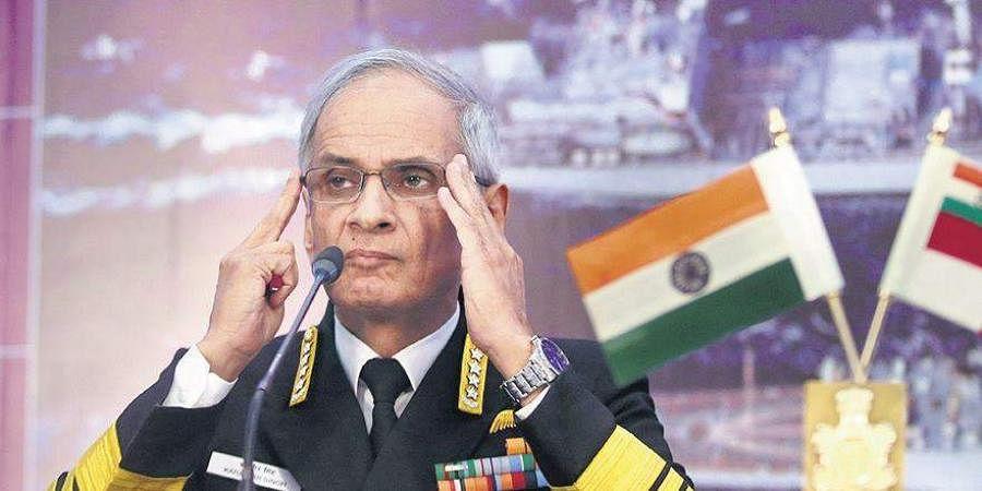 Navy chief Admiral Karambir Singh addresses the media in Delhi.
