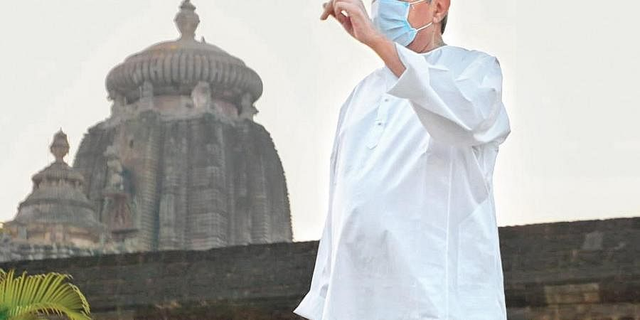 Chief Minister Naveen Patnaik during his review of Ekamra Kshetra project around Lingaraj temple in Bhubaneswar on Wednesday   express