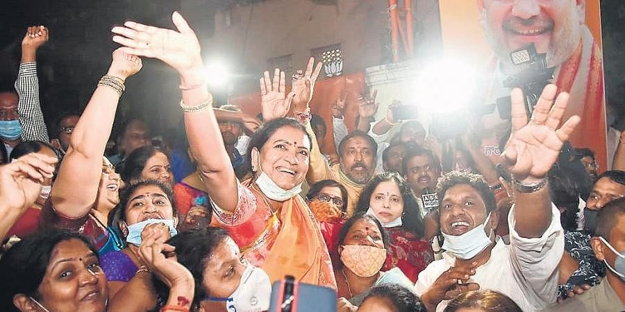 BJP national vice-president DK Aruna celebrates the saffron party's massive leap in the GHMC elections.