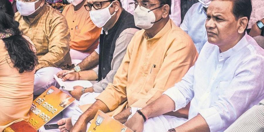 BJP leaders stage dharna near Raj Bhawan in Bhubaneswar on Monday | Express