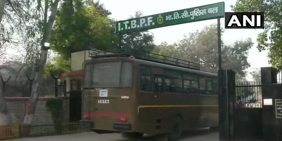 A bus carrying Indians who arrived in Air India special flight from Wuhan (China) at Delhi Airport today, brought Indo-Tibetan Border Police (ITBP) Chhawla Camp for medical observation at the camp.