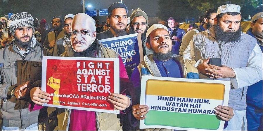 An anti-CAA protest near Jamia Millia Islamia University last month.
