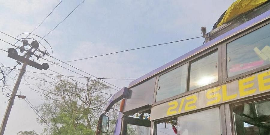 The ill fated bus that got stuck by overhead electricity wire