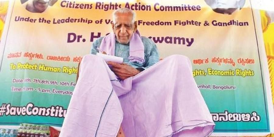 Freedom fighter HS Doreswamy attends a protest against Citizenship Act at Freedom Park on Sunday.