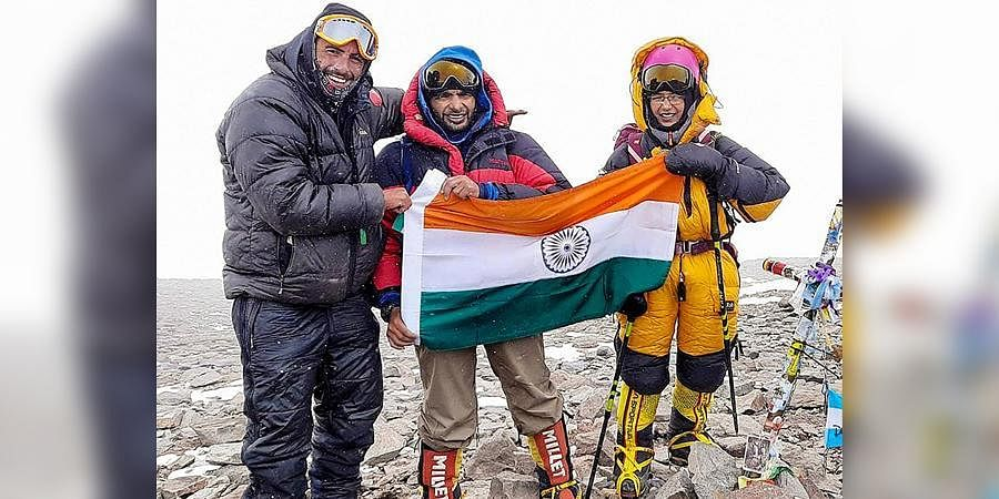Kaamya Karthikeyan, a class 7 student of Navy Children School, unfurls the Indian Tricolour at Mt Aconcagua, the highest peak in South America