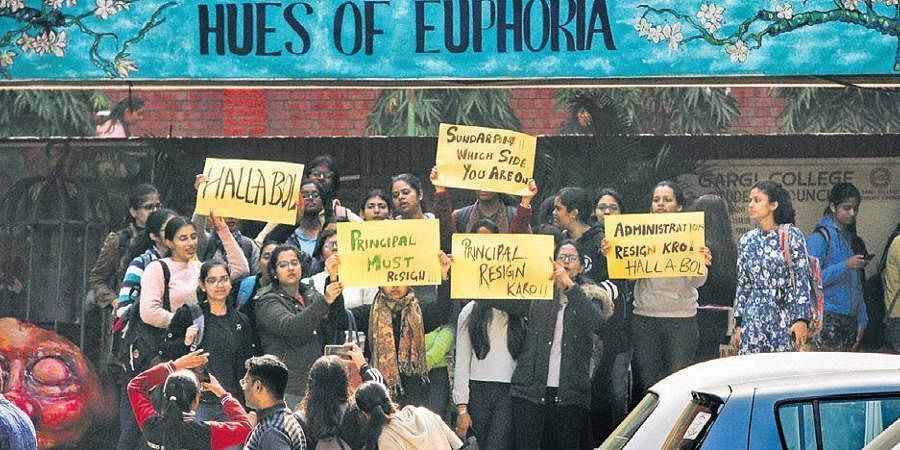 Students protests against molestation by a group of men who had gatecrashed at Gargi College fest in New Delhi.