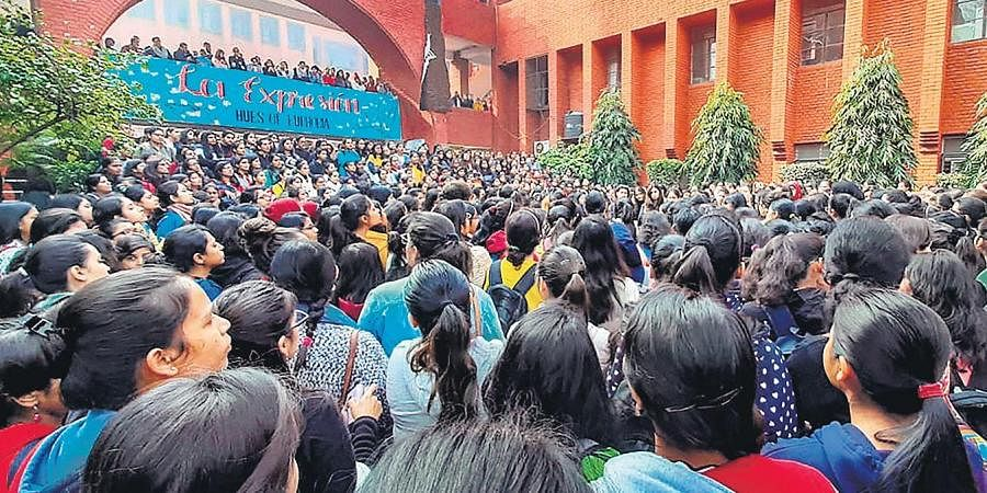 Students of Gargi College stage a protest on campus against the alleged molestation of some girls by 'drunk' men during their annual cultural fest.