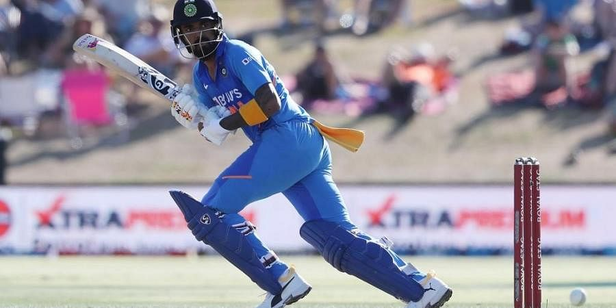 India's KL Rahul bats during the third One Day International cricket match between New Zealand and India at the Bay Oval in Mount Maunganui on February 11, 2020.