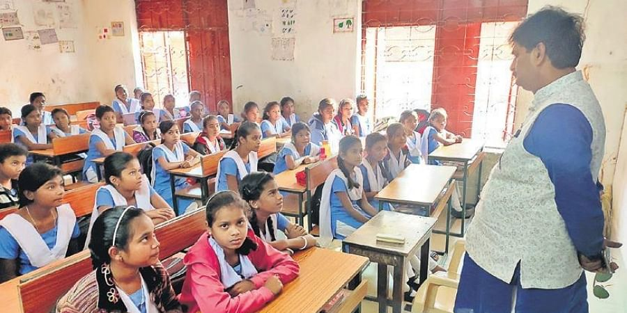 School and Mass Education Minister Samir Das at the Government High School in Kantabanji