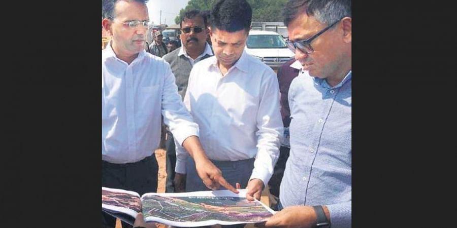 Chief Secretary Asit tripathy with 5 T Secretary V Karthikeyan Pandian and Works Secretary Krishan Kumar at Talasari in Balasore on Monday