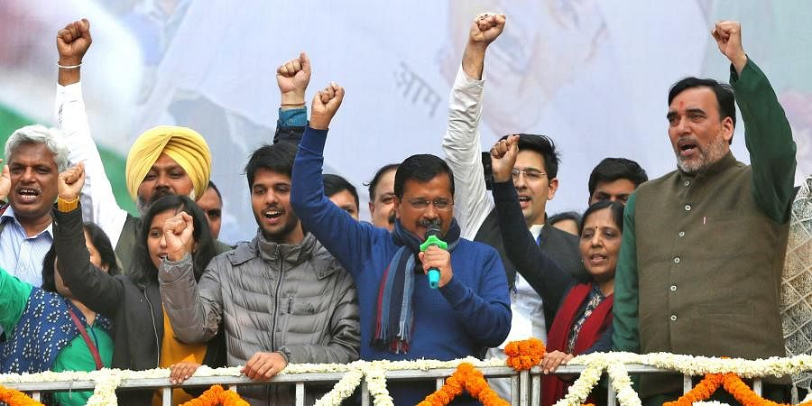 AAP chief Arvind Kejriwal addreses supporters after party's victory in the State Assembly polls, at AAP office in New Delhi