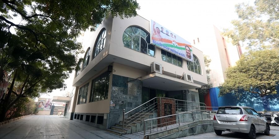 A view of the Delhi Pradesh Congress Committee office on the Assembly polls results day on Tuesday